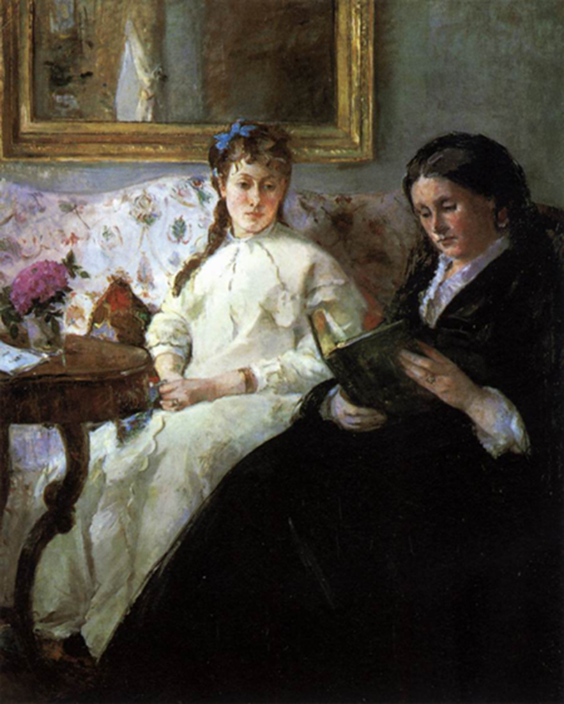 <p><b><i>The Artist's Mother and Sister (Reading)</i>, 1869-1870<br/>Berthe Morisot</b><br/><br/></p>