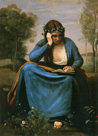 <p><b><i>The Reader <br/>Wreathed with Flowers</i>, 1845<br/>Jean-Baptiste <br/>Camille Corot</b><br/><br/></p>