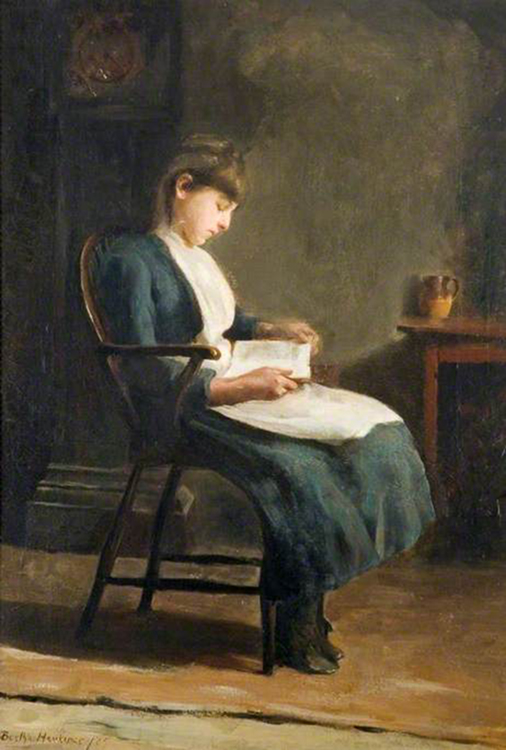 <p><b><i>A Girl Sitting Reading</i>, 1887<br/>Bertha Herkomer</b><br/><br/></p>