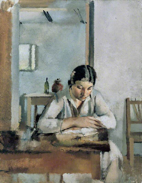 <p><b><i>Girl Seated, Reading at a <br/>Table</i>, 1930<br/>Jesse Dale Cast</b><br/><br/></p>