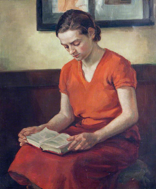 <p><b><i>Portrait of a Young Woman <br/>Reading</i>, 1938<br/>G. B. Barlow</b><br/><br/></p>