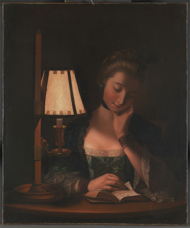 <p><b><i>Woman Reading by a Paper-Bell Shade</i>, 1766<br/>Henry Robert Morland</b><br/><br/></p>